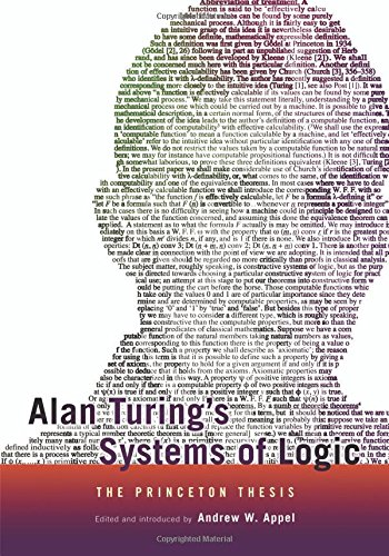 Alan Turings Systems of Logic: The Princeton Thesis